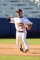 Central Michigan Chippewas Tyler Hall #21 during a game vs. the Pittsburgh Panthers at Chain of Lakes Park in Winter Haven, Florida;  March 11, 2011.  Pittsburgh defeated Central Michigan 19-2.  Photo By Mike Janes/Four Seam Images