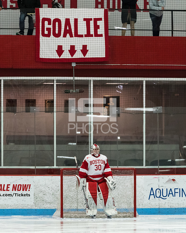 """BOSTON, MA - JANUARY 04: Fans """"taunt"""" visiting team with reference to Corinne Schroeder #30 of Boston University during a game between University of Maine and Boston University at Walter Brown Arena on January 04, 2020 in Boston, Massachusetts."""