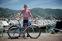 Michael Matthews (AUS/Orica-GreenEDGE) before the stage posing in the pink jersey/maglia rosa<br /> <br /> 2015 Giro<br /> stage 3: Rapallo - Sestri Levante (136km)