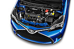 Car stock 2015 Toyota Yaris Le 5 Door Hatchback engine high angle detail view