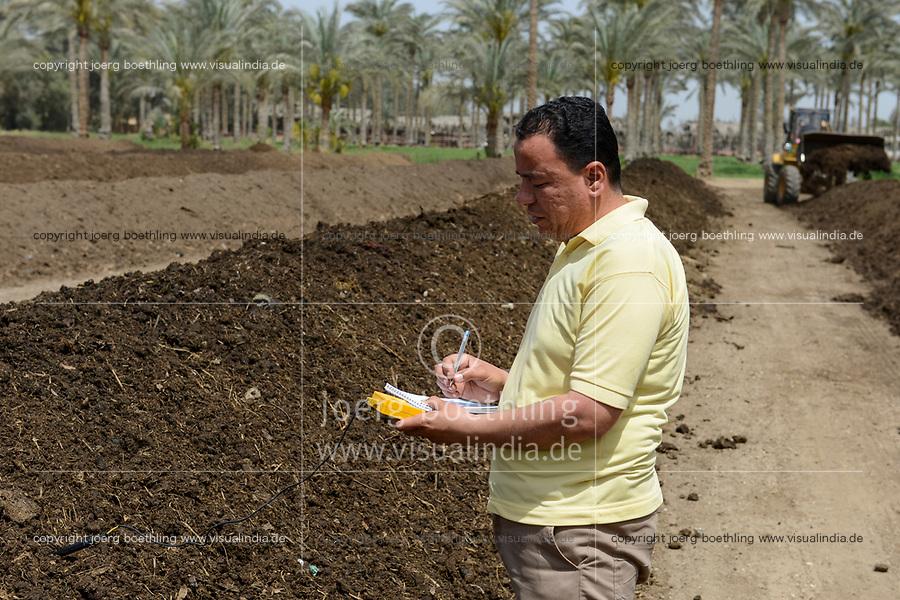 EGYPT, Bilbeis, Sekem organic farm, preparing of organic compost for desert farming, measure of temperature / AEGYPTEN, Bilbeis, Sekem Biofarm Herstellung von Kompost fuer Landwirtschaft in der Wueste, Messung der Temperatur, Mitarbeiter Taissir Saqr