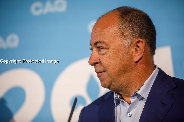 CAQ - Presentation du nouveau Candidat de la CAQ, <br /> Christian Dube, par  Francois Legault en <br /> Conference de presse a LaPrairie, sept 2018<br /> <br /> <br /> Après la démission de Stéphane Le Bouyonnec <br /> PHOTO : Agence Quebec Presse