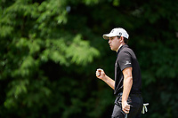 6th June 2021; Dublin, Ohio, USA;  Patrick Cantlay (USA) reacts to his 44 foot birdie putt on the 2nd green during the final round of the Memorial Tournament at Muirfield Village Golf Club in Dublin, Ohio