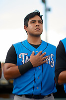 Tampa Tarpons Gabriel Mora (16) during the national anthem before a game against the Bradenton Marauders on August 12, 2018 at LECOM Park in Bradenton, Florida.  The game was suspended in the bottom of the first inning due to weather.  (Mike Janes/Four Seam Images)