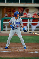 Ramon Rodriguez (6) of the Ogden Raptors bats against the Orem Owlz at Home of the Owlz on September 11, 2017 in Orem, Utah. Ogden defeated Orem 7-3 to win the South Division Championship. (Stephen Smith/Four Seam Images)