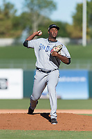 Peoria Javelinas relief pitcher Dauris Valdez (50), of the San Diego Padres organization, delivers a pitch during an Arizona Fall League game against the Surprise Saguaros at Surprise Stadium on October 17, 2018 in Surprise, Arizona. (Zachary Lucy/Four Seam Images)
