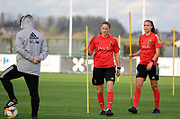20201021 - TUBIZE , Belgium : (L-R) Head coach Ives Serneels, Lenie Onzia and Silke Vanwynsberghe pictured during a training session of the Belgian Women's National Team, Red Flames , on the 21st of October 2020 at Proximus Basecamp in Tubize. PHOTO: SPORTPIX.BE | SPP | SEVIL OKTEM