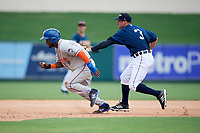 Lakeland Flying Tigers second baseman Will Maddox (3) tags out a runner during a game against the St. Lucie Mets on June 11, 2017 at Joker Marchant Stadium in Lakeland, Florida.  Lakeland defeated St. Lucie 1-0.  (Mike Janes/Four Seam Images)