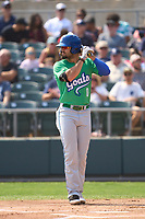 Hartford Yard Goats Willie Abreu (0) bats during a game against the Somerset Patriots on September 12, 2021 at TD Bank Ballpark in Bridgewater, New Jersey.  (Mike Janes/Four Seam Images)