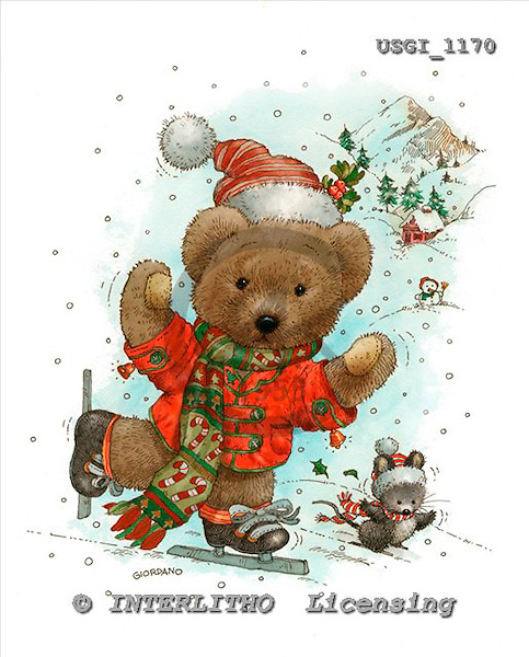 GIORDANO, CHRISTMAS ANIMALS, WEIHNACHTEN TIERE, NAVIDAD ANIMALES, Teddies, paintings+++++,USGI1170,#XA#