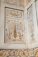 """Agra, India.  Pietra Dura, Interior of Itimad-ud-Dawlah, Mausoleum of Mirza Ghiyas Beg.  The tomb is sometimes referred to as the """"Baby Taj.""""   It is one of the finest examples of pietra dura work, making designs through the use of inlaid colored stone."""
