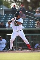 Carlos Reina (25) of the Cucuys de San Bernardino bats against the los Toros de Visalia at San Manuel Stadium on July 11, 2021 in San Bernardino, California. (Larry Goren/Four Seam Images)