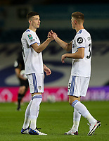 Leeds United's Oliver Casey shakes hands with Charlie Cresswell before the game<br /> <br /> Photographer Alex Dodd/CameraSport<br /> <br /> Carabao Cup Second Round Northern Section - Leeds United v Hull City -  Wednesday 16th September 2020 - Elland Road - Leeds<br />  <br /> World Copyright © 2020 CameraSport. All rights reserved. 43 Linden Ave. Countesthorpe. Leicester. England. LE8 5PG - Tel: +44 (0) 116 277 4147 - admin@camerasport.com - www.camerasport.com