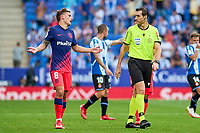 12th September 2021: Barcelona, Spain:  Antoine Griezmann of Atletico de Madrid  complains to the referee during the Liga match between RCD Espanyol and Atletico de Madrid at RCDE Stadium in Cornella, Spain.