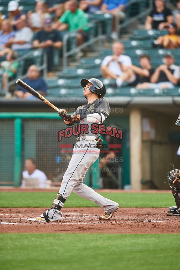 Mauricio Dubón (26) of the Sacramento River Cats at bat against the Salt Lake Bees at Smith's Ballpark on August 16, 2021 in Salt Lake City, Utah. The Bees defeated the River Cats 6-0. (Stephen Smith/Four Seam Images)