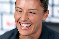 ORLANDO, FL - JANUARY 21: Ali Krieger #11 of the USWNT talks to the media during a zoom call during a press conference at the team hotel on January 21, 2021 in Orlando, Florida.