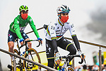 World Champion Julian Alaphilippe (FRA) and Green Jersey Mark Cavendish (GBR) Deceuninck-Quick Step at sign on before Stage 16 of the 2021 Tour de France, running 169km from Pas de la Case to Saint-Gaudens, France. 13th July 2021.  <br /> Picture: A.S.O./Charly Lopez   Cyclefile<br /> <br /> All photos usage must carry mandatory copyright credit (© Cyclefile   A.S.O./Charly Lopez)