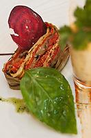 Europe/France/Rhône-Alpes/74/Haute-Savoie/Megève: Pressé de légumes confits; chantilly orange- carotte au gingembre - Recette de Philippe Zanchetta du Restaurant: L'Alpaga