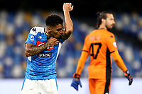 Allan of SSC Napoli celebrates after scoring the goal of 2-0 during the Serie A football match between SSC Napoli and US Sassuolo at stadio San Paolo in Napoli ( Italy ), July 25th, 2020. Play resumes behind closed doors following the outbreak of the coronavirus disease. <br /> Photo Cesare Purini / Insidefoto