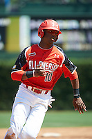 Outfielder Terry McClure #10 of Riverwood International Charter High School in Atlanta, Georgia participates in the Under Armour All-American Game powered by Baseball Factory at Wrigley Field on August 18, 2012 in Chicago, Illinois.  (Mike Janes/Four Seam Images)