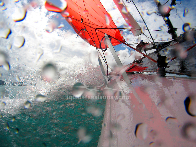 Preparation for the Formula 18 World Championship 2007, Yeppoon in Australia..The Formula 18 class, with its F18 abbreviation, is one of the success stories in the sport catamaran scene. It was started in the early 1990s and quickly grew to a full sized ISAF recognised class with big racing fleets all over the globe. Before the turn of the century, the F18 class was attracting up to 150 boats and crews to their world championships. Since then a limit has been placed on attendance (max 150) and therefore qualifier rounds are held in several areas to decide who may go to the world championships and who may not..Currently the F18 class is serviced by 11 professional boatbuilders who all have designed and built their own F18 boat. This is possible because the F18 class is a Formula class. This means that any boat that adheres to a certain limited set of general design specifications may participate in all F18 races. This has led to a score of homebuilders and professional builders to design their own F18 boats and racing them in this class.Onboard with Darren Bundock and Glenn Ashby during a training sesson before the Formula 18 World Championship 2007, Yeppoon in Australia..The Formula 18 class, with its F18 abbreviation, is one of the success stories in the sport catamaran scene. It was started in the early 1990s and quickly grew to a full sized ISAF recognised class with big racing fleets all over the globe. Before the turn of the century, the F18 class was attracting up to 150 boats and crews to their world championships. Since then a limit has been placed on attendance (max 150) and therefore qualifier rounds are held in several areas to decide who may go to the world championships and who may not..Currently the F18 class is serviced by 11 professional boatbuilders who all have designed and built their own F18 boat. This is possible because the F18 class is a Formula class. This means that any boat that adheres to a certain limited set of general design specificati