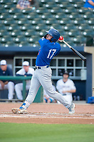 Tulsa Drillers outfielder Zach Reks (17) connects on a pitch on May 13, 2019, at Arvest Ballpark in Springdale, Arkansas. (Jason Ivester/Four Seam Images)