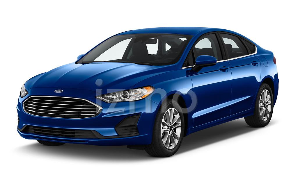 2020 Ford Fusion SE 4 Door Sedan Angular Front stock photos of front three quarter view