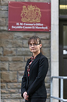 COPY BY TOM BEDFORD<br /> Pictured: Detective Inspector Jacqui Lovatt outside Aberdare Coroner's Court, Wales, UK.<br /> Re: Inquest to be held at Aberdare Coroner's Court over a house fire that killed a father and his children in Llangammarch Wells on the 31st of October 2017, in mid Wales, UK. <br /> David Cuthbertson, 68, and children Just Raine, 11, Reef Raine, 10, and Patch Raine, who was six, and their nine-year-old sister Misty Raine.<br /> Three other children aged 10, 12 and 13 escaped and were taken to hospital.