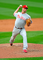 13 April 2009: Philadelphia Phillies' pitcher Ryan Madson on the mound during the Washington Nationals' Home Opener at Nationals Park in Washington, DC. The Nats fell short in their 9th inning rally, losing 9-8, as the visiting Phillies handed the Nats their 7th consecutive loss of the 2009 season. Mandatory Credit: Ed Wolfstein Photo