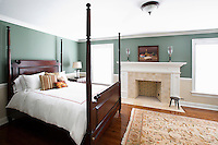 classic bedroom with fireplace