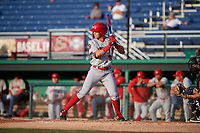 Auburn Doubledays Ricardo Mendez (3) at bat during a NY-Penn League game against the Batavia Muckdogs on June 19, 2019 at Dwyer Stadium in Batavia, New York.  Auburn defeated Batavia 5-0 in the second game of a doubleheader.  (Mike Janes/Four Seam Images)