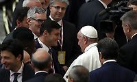 Pope Francis (r) greets Argentinian former football player Javier Zanetti at the end of an audience with managers and members of the italian Football Federation (FIGC) and Gazzetta dello Sport newspaper, in Paul VI Hall at the Vatican, on May 24, 2019. <br /> UPDATE IMAGES PRESS/Isabella Bonotto<br /> <br /> STRICTLY ONLY FOR EDITORIAL USE
