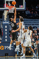 WASHINGTON, DC - JANUARY 28: Bryce Nze #10 of Butler defends against a shot by Omer Yurtseven #44 of Georgetown during a game between Butler and Georgetown at Capital One Arena on January 28, 2020 in Washington, DC.