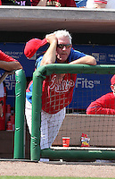 Philadelphia Phillies coach Mike Schmidt in the dugout during a scrimmage against the Florida State Seminoles at Brighthouse Field on February 29, 2012 in Clearwater, Florida.  Philadelphia defeated Florida State 6-1.  (Mike Janes/Four Seam Images)