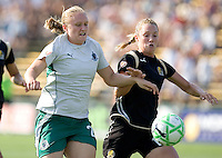 Christie Welsh (left) and Kristen Graczyk (right) chase down the ball. FC Gold Pride tied the St. Louis Athletica 1-1 at Buck Shaw Stadium in Santa Clara, California on August 9, 2009.