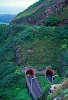 View of the pali tunnels on Oahu.