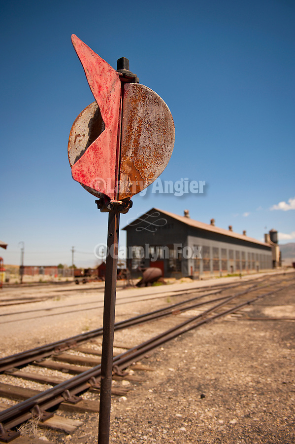 Arrow and circle switch signal flag, Nevada Northern Railway, East Ely yards, Nev.