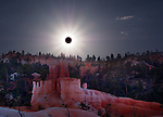 Total eclipse of the sun over Bryce Canyon in Utah
