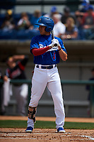 Rancho Cucamonga Quakes center fielder Jeren Kendall (3) at bat during a California League game against the Lake Elsinore Storm at LoanMart Field on May 20, 2018 in Rancho Cucamonga, California. Rancho Cucamonga defeated Lake Elsinore 6-2. (Zachary Lucy/Four Seam Images)