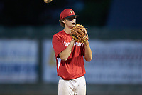 Lake Norman Copperheads relief pitcher Drake Thames (18) (Florence-Darlington Tech) looks to his catcher for the sign against the Mooresville Spinners at Moor Park on July 6, 2020 in Mooresville, NC.  The Spinners defeated the Copperheads 3-2. (Brian Westerholt/Four Seam Images)