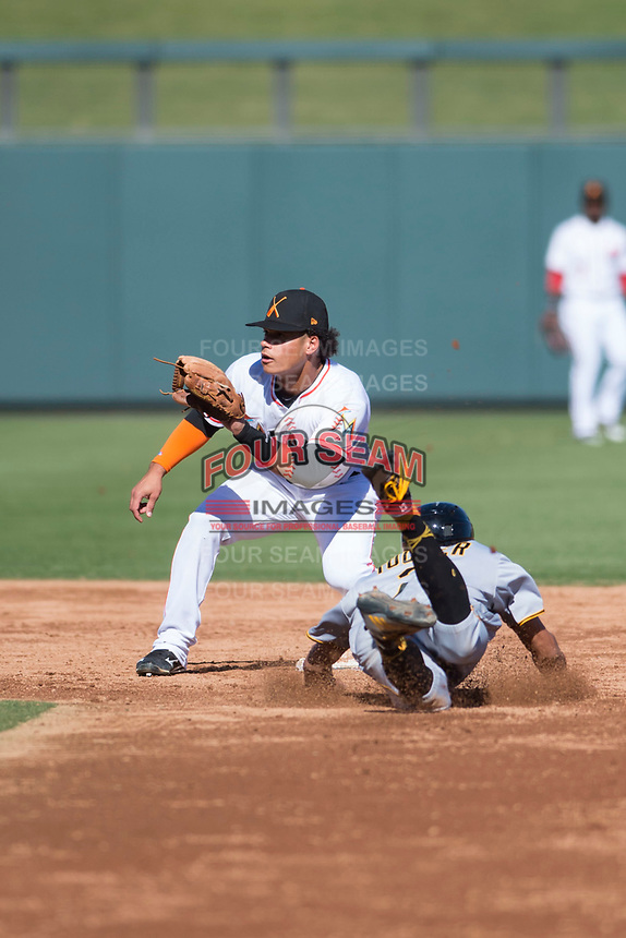 Salt River Rafters shortstop Bryson Brigman (15), of the Miami Marlins organization, waits to receive a throw as Cole Tucker (2) slides into second base on a stolen base attempt during an Arizona Fall League game against the Surprise Saguaros at Salt River Fields at Talking Stick on November 5, 2018 in Scottsdale, Arizona. Salt River defeated Surprise 4-3 . (Zachary Lucy/Four Seam Images)