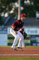 Batavia Muckdogs third baseman Denis Karas (25) during a game against the Auburn Doubledays on August 26, 2017 at Dwyer Stadium in Batavia, New York.  Batavia defeated Auburn 5-4.  (Mike Janes/Four Seam Images)