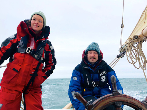 Sligo recruits to Ilen's crew – Sophie Skinner and David O'Boyle enjoyed an efficient passage from Dublin to Kinsale on the longest night of the year. Photo: Gary Mac Mahon
