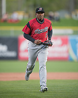 Carlos Moncrief (9) of the Sacramento River Cats during the game against the Salt Lake Bees in Pacific Coast League action at Smith's Ballpark on April 13, 2017 in Salt Lake City, Utah. Salt Lake defeated Sacramento 4-3. (Stephen Smith/Four Seam Images)
