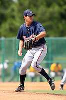 GCL Braves pitcher Rafael Briceno #29 delivers a pitch during a game against the GCL Pirates at Disney Wide World of Sports on June 25, 2011 in Kissimmee, Florida.  The Pirates defeated the Braves 5-4 in ten innings.  (Mike Janes/Four Seam Images)