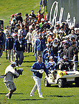 JEJU, SOUTH KOREA - APRIL 25:  Marcus Fraser of Australia walks into the 18th green during the Round Three of the Ballantine's Championship at Pinx Golf Club on April 25, 2010 in Jeju, South Korea. Photo by Victor Fraile / The Power of Sport Images
