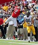 Rutgers takes on Iowa in their first Big Ten game of 2016 at High Point Solutions Stadium in Piscataway on Saturday September 24, 2016<br /> <br /> Rutgers # 2 (left) Kiy Hester comes close to intercepting a pass intended for Iowa's # 86 (right) Peter Pekar.