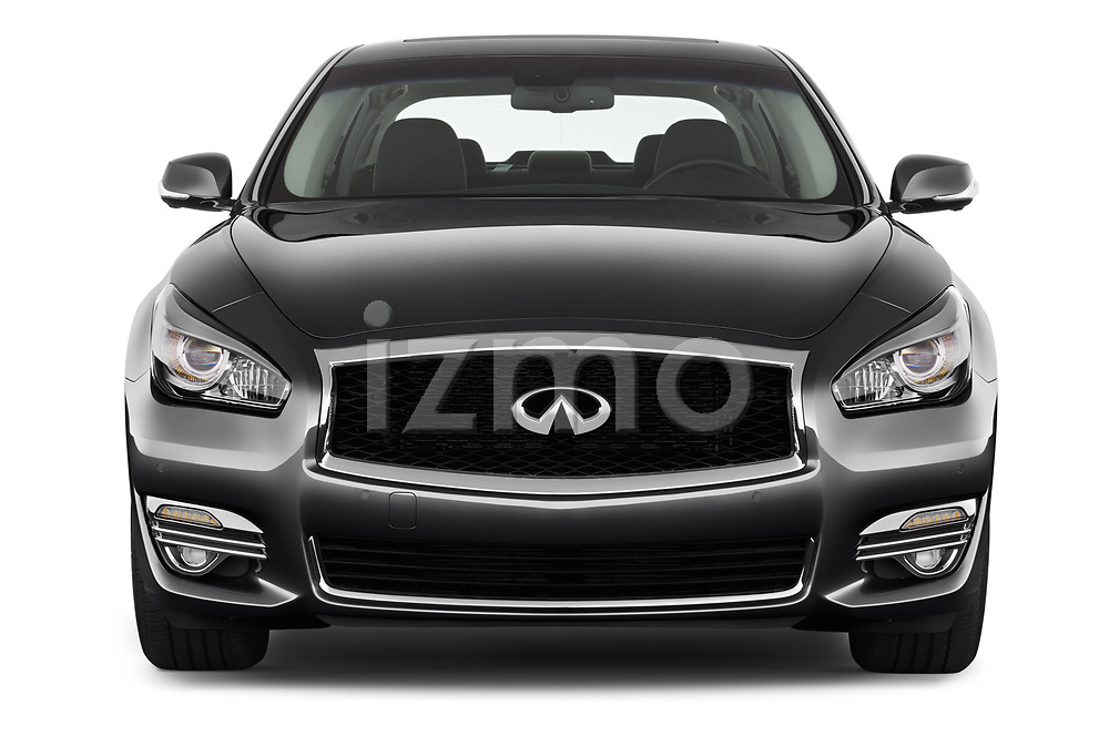 Car photography straight front view of a 2016 Infiniti Q70 Premium 4 Door Sedan Front View