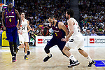 (L-R) Barcelona's Chris Singleton, Real Madrid's Jaycee Carroll, Barcelona's Pau Ribas and Real Madrid's Sergio Llull during Liga Endesa match between Real Madrid and FC Barcelona Lassa at Wizink Center in Madrid, Spain. March 24, 2019.  (ALTERPHOTOS/Alconada)