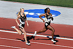 13 JUNE 2015: Sage Watson of Florida State and Carmiesha Cox of Purdue run their leg of the Women's 4X400 meter relay during the Division I Men's and Women's Outdoor Track & Field Championship held at Hayward Field in Eugene, OR. Florida won the event in a time of 3:28.12. Steve Dykes/ NCAA Photos